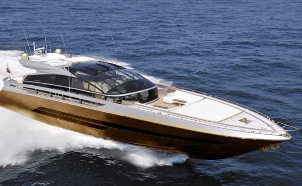 100-foot long History Supreme, the world's most expensive yacht. History Supreme was constructed with  100,000 kilograms of solid gold and platinum accents including a her hull which is completely wrapped in gold. The $ 4.8 BILLION (or RM14.5 billion) price tag