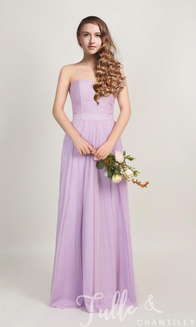 5e0ec56bac Long Strapless Pastel Light Purple Tulle Bridesmaid Dress TBQP315 click for  40+ colors