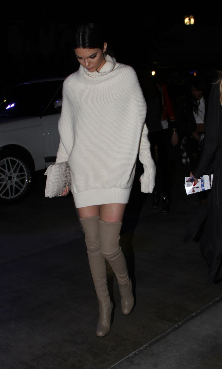 Kendall Jenner in knitted dress and thigh high boots: