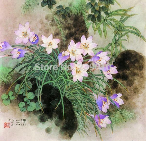 Китайские цветы Отпечатки На Холсте Картина Маслом Орхидеи картина маслом Напечатаны На Холсте Wall Art Домашнего Украшения