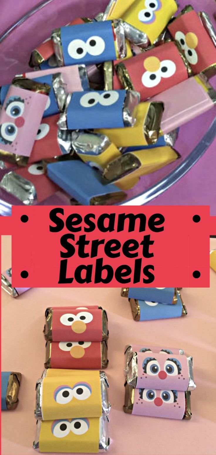 Add some chocolate Hershey mini wrappers to your Sesame Street birthday party. These labels look like Elmo, Cookie Monster, Abby, Oscar and Grover. #sesamestreet #candybarwrapper #birthdayparty #etsy #ad