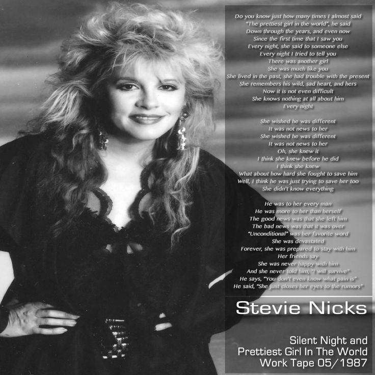 Stevie NIcks artwork for Silent Night and Prettiest Girl In The World Work Tape 05/1987
