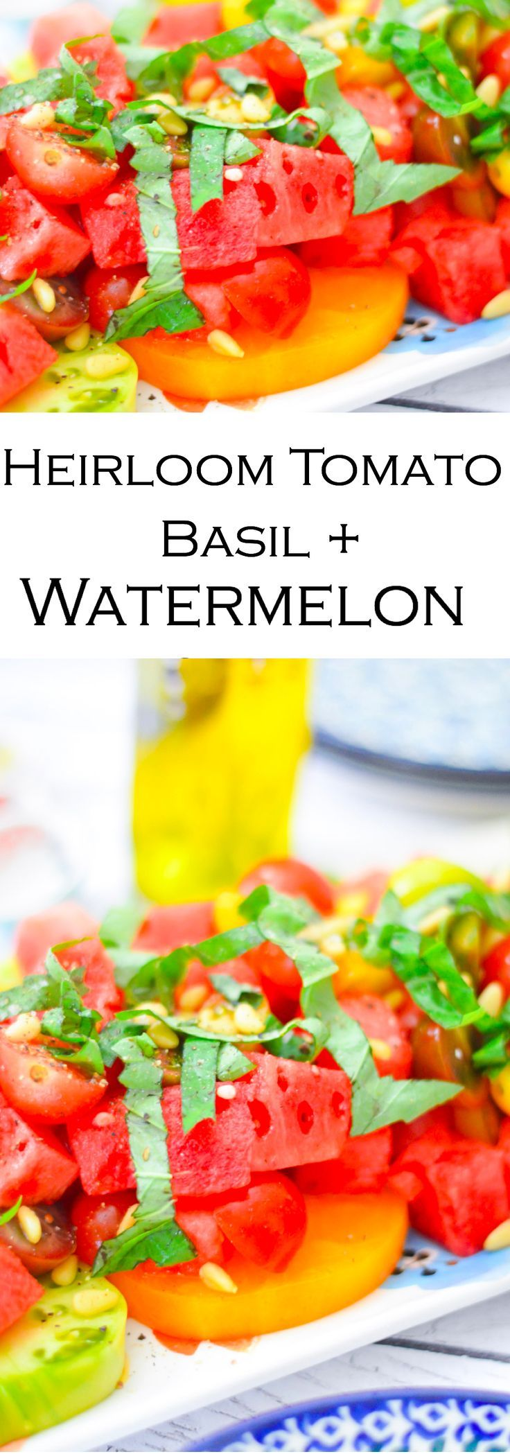 The perfect summer salad, this heirloom tomato, basil, and watermelon salad comes together quickly and is delicious. Super easy and perfect for vegan, vegetarian, and meat-eaters alike!!