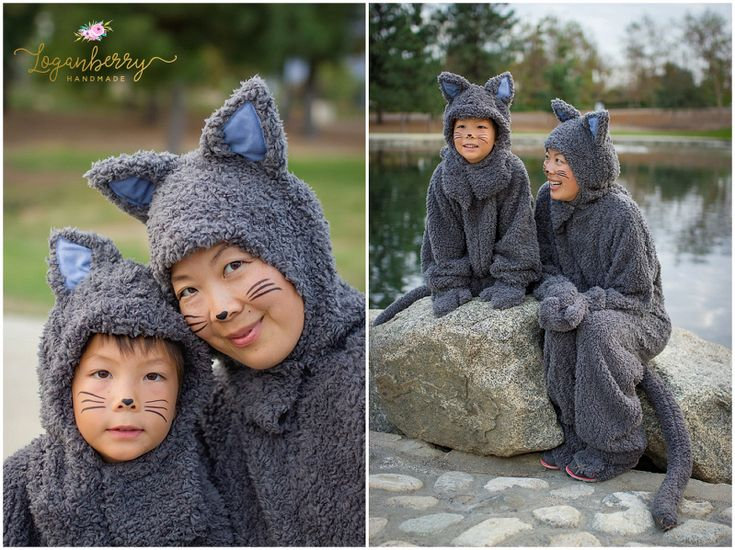 sewing cat costumes, halloween costumes, diy cat costume, mother and son matching costumes, diy grey cat costume, mcCalls patterns M6106, halloween sewing projects, mother and child halloween costume, cute kitty costumes