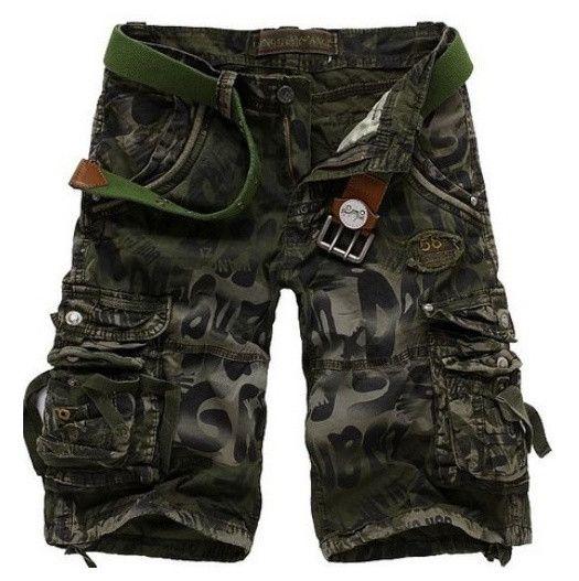 Unique Men's Camo Military Style Multi-Pocket Short Pants
