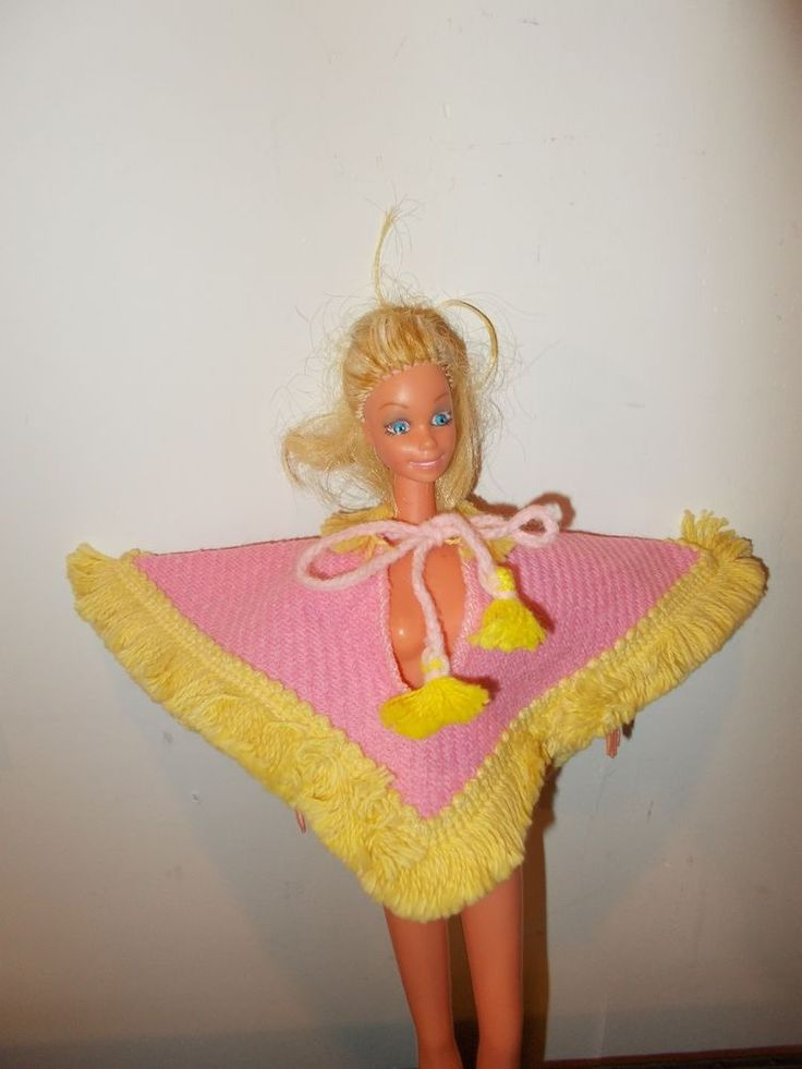 Pink Poncho with Yellow Fringe Vintage Barbie Doll Clothes