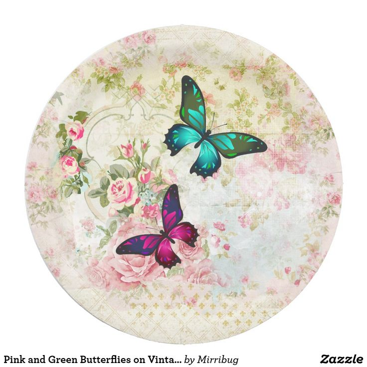 Pink and Green Butterflies on Vintage Pattern Paper Plate