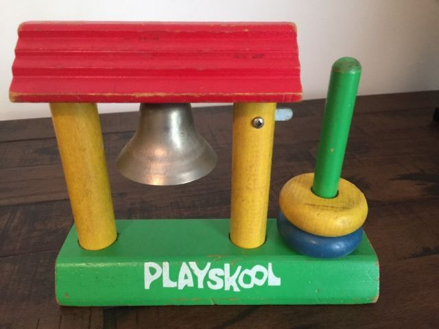 Vintage 50s PLAYSKOOL Wood SHACK Drop the DONUTS Ring the BELL Active TOY Used | eBay