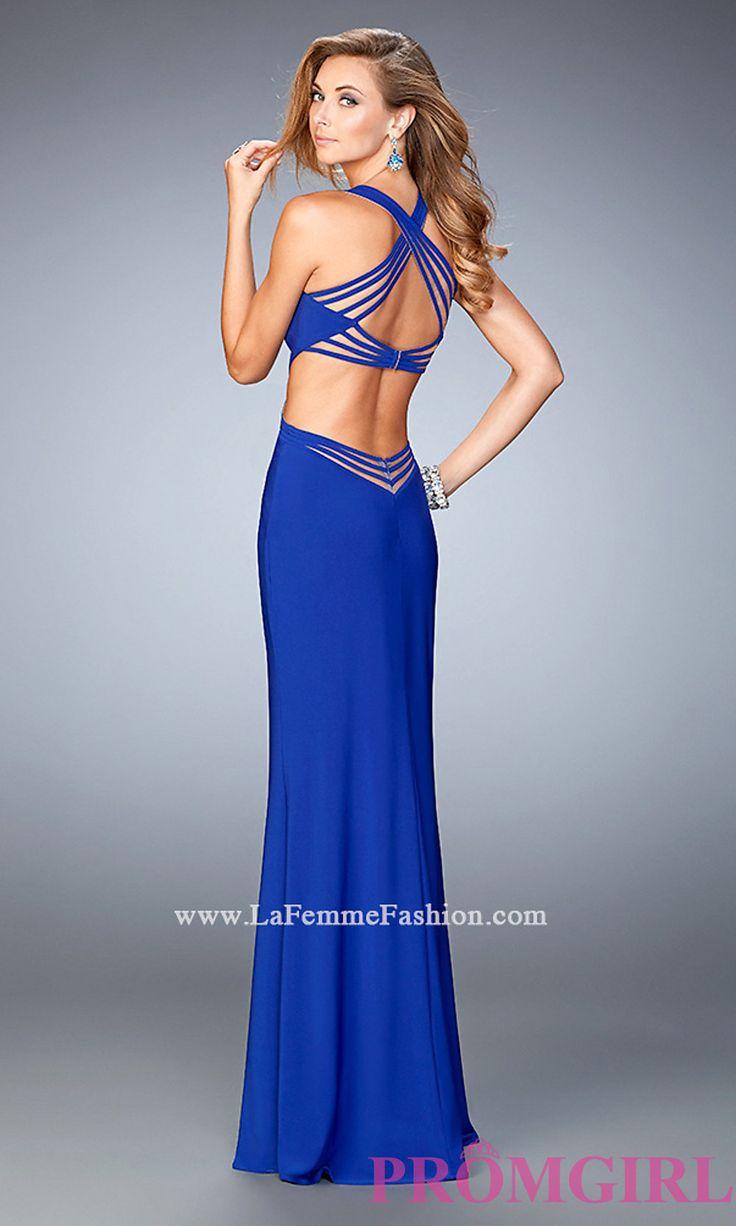 Low V-Neck Open Back Prom Dress by La Femme LF-22240