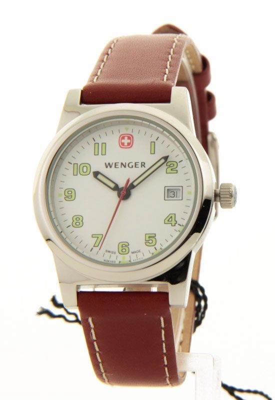 Womens Wenger Bienne Swiss Military Leather Date Casual Watch 70380