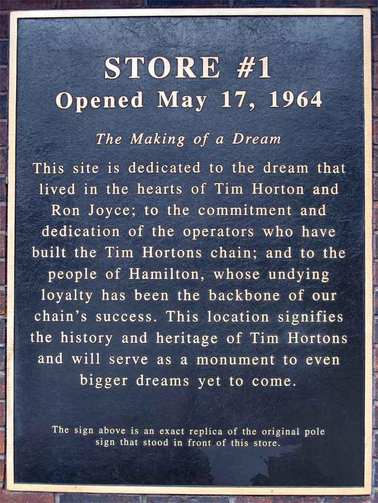 First Tim Hortons - Opened May 17, 1964 at 65 Ottawa Street North