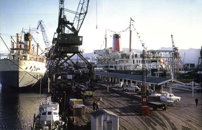 The Wahine is widely known in New Zealand because of her disastrous wrecking in April 1968, in what came to be called the 'Wahine storm'. She is shown here in 1966, decked with flags for her maiden voyage to Lyttelton.