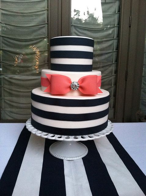 Navy and coral stripes and bow wedding by Designer Cakes By April, via Flickr--Okay this would be for  like our shower or something---not the wedding---too kiddish lol