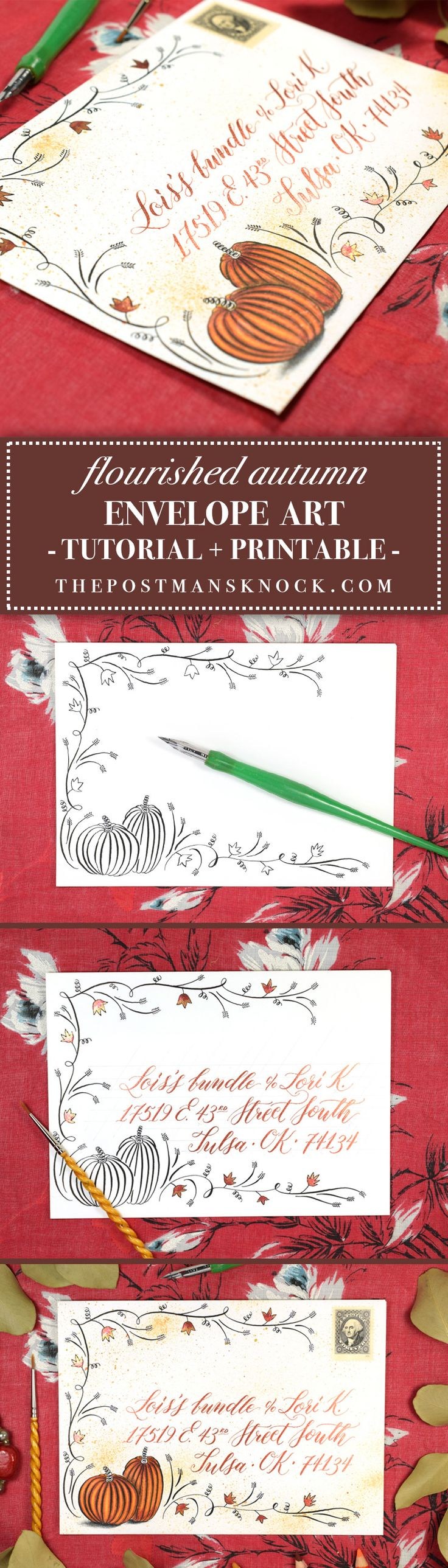 Flourished Autumn Envelope Art Tutorial