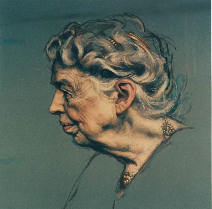 Daniel E. Greene - Portrait of  Anna Eleanor Roosevelt. Pastel on paper. Unknown date. ((Eleanor Roosevelt was the longest-serving First Lady of the United States, holding the post from 1933 to 1945.))She was  her husband's first cousin, and her maiden name was the same as her married.