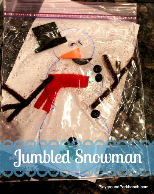 Jumbled Snowman ~ Playground Parkbench A winter-themed gel sensory bag to challenge your little one's fine motor skills