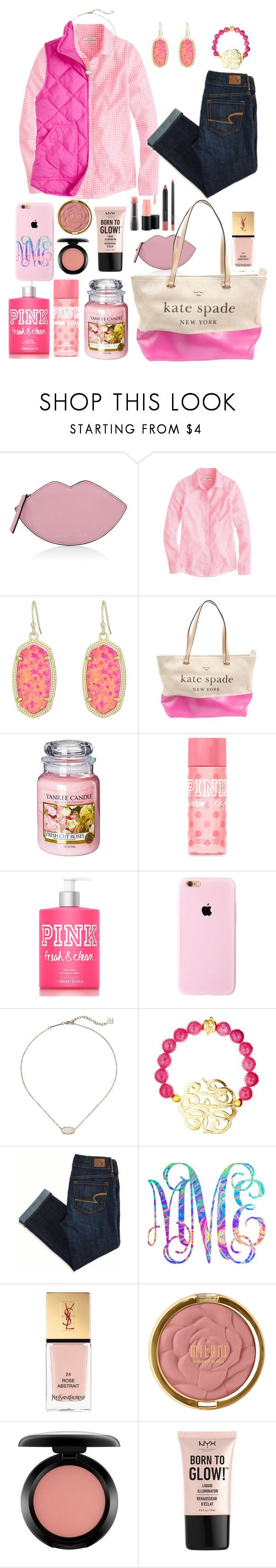 """Wednesday outfit"" by kat-prepster ❤ liked on Polyvore featuring Kendall + Kylie, J.Crew, Kendra Scott, Kate Spade, Yankee Candle, Victoria's Secret PINK, Susan Shaw, American Eagle Outfitters, Lilly Pulitzer and Yves Saint Laurent"