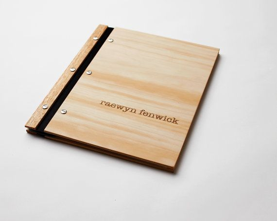 design folio // custom engraved // wood portfolio by lorgieandme, $70.00    Very expensive, but you could build one with scrap from shop and laser cutter