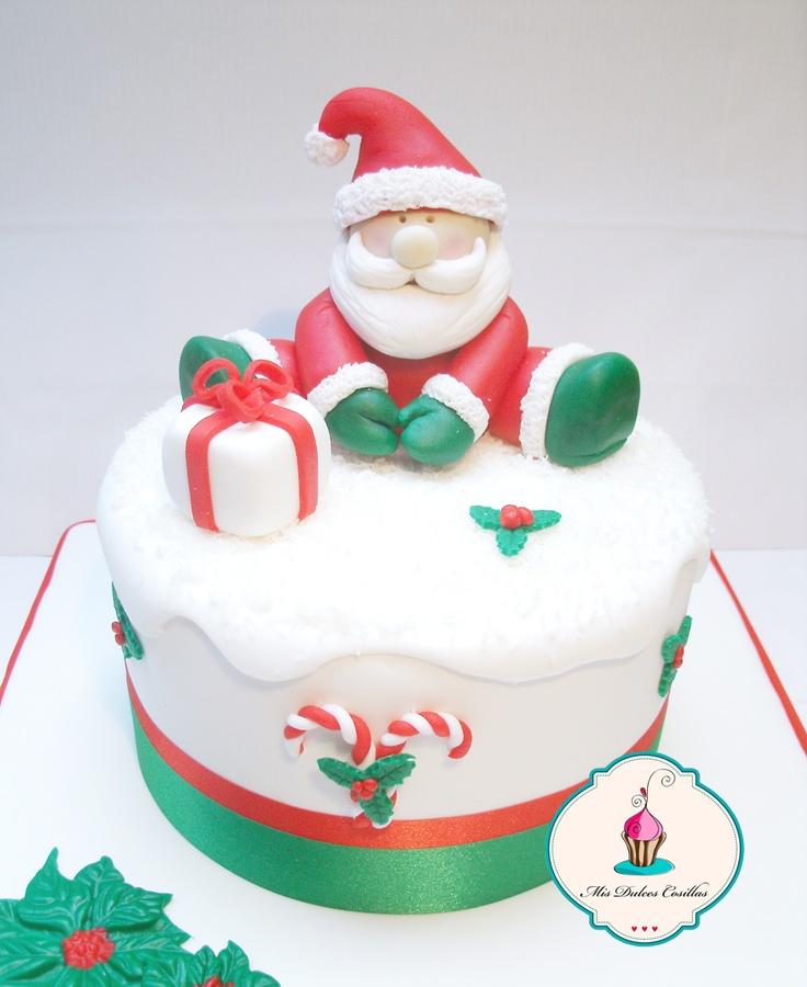 Cake Inspiration - 1 Tier, Round, Christmas, Festive, Santa, Presents