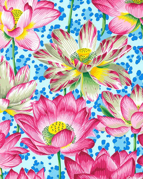 """Kaffe Collective - Leopard Lotus - Dawn Blue. Large-scale lotus flowers rise up from a leopard-spotted ground. Larger flowers are about 9"""", 'Leopard Lotus' from the 'Spring 2016' collection by Philip Jacobs for Rowan Fabrics."""