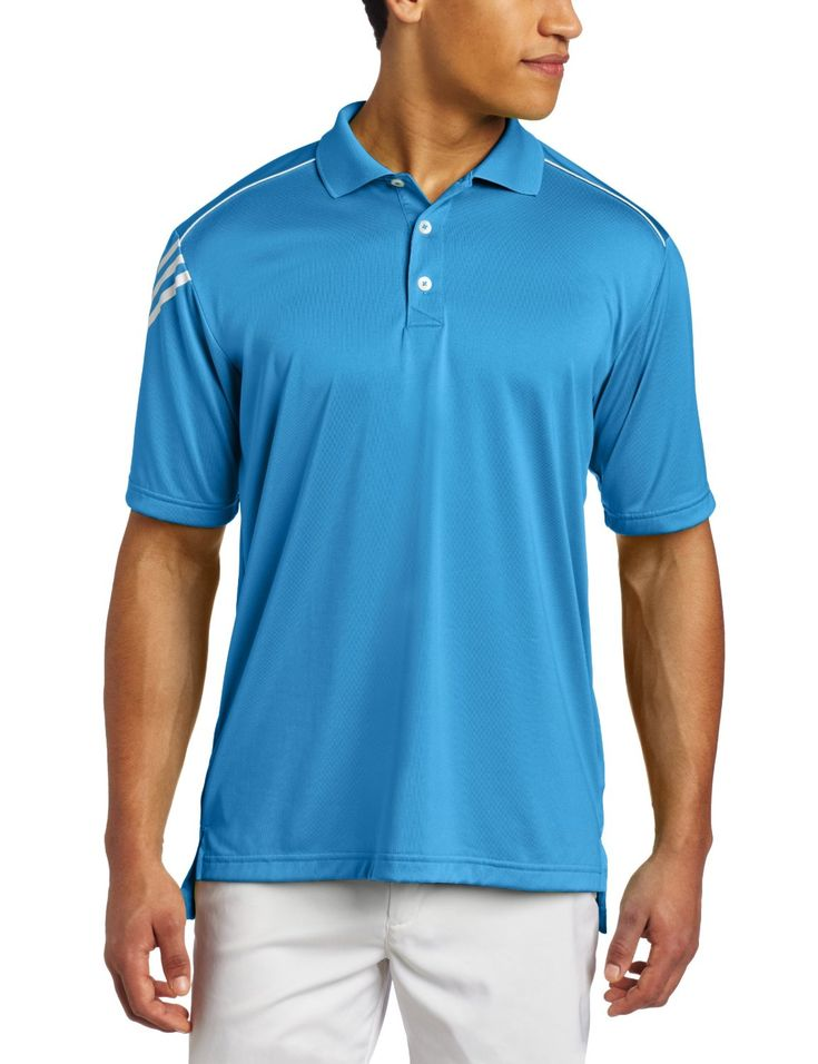 Made from 100% polyester this mens ClimaCool 3 stripes golf polo shirt by  Adidas offers