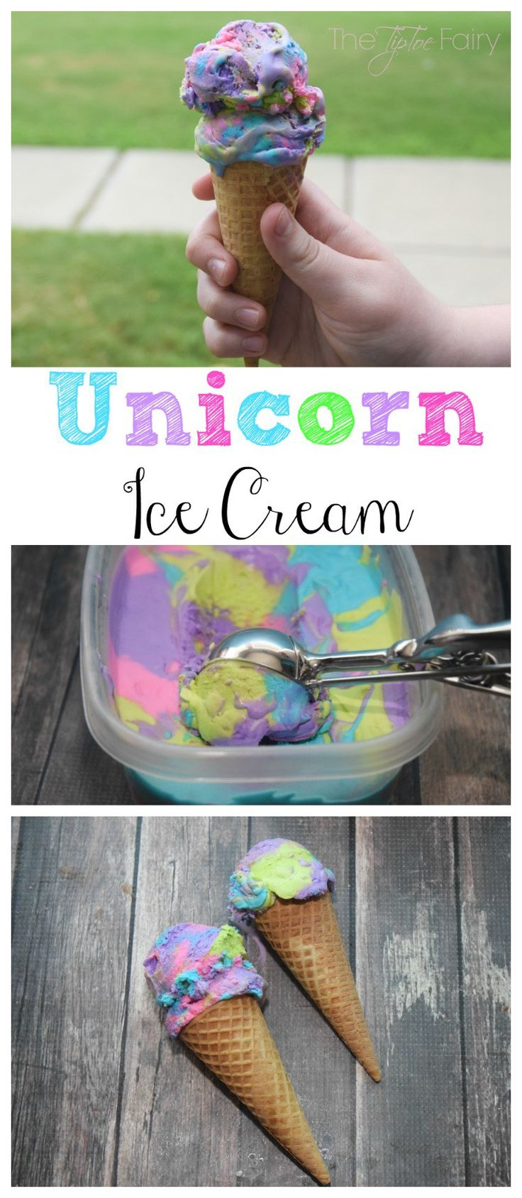 Make some easy peasy No Churn Unicorn Ice Cream with the kids!  It's 3 ingredients and rainbow!! Your kids are gonna love it!