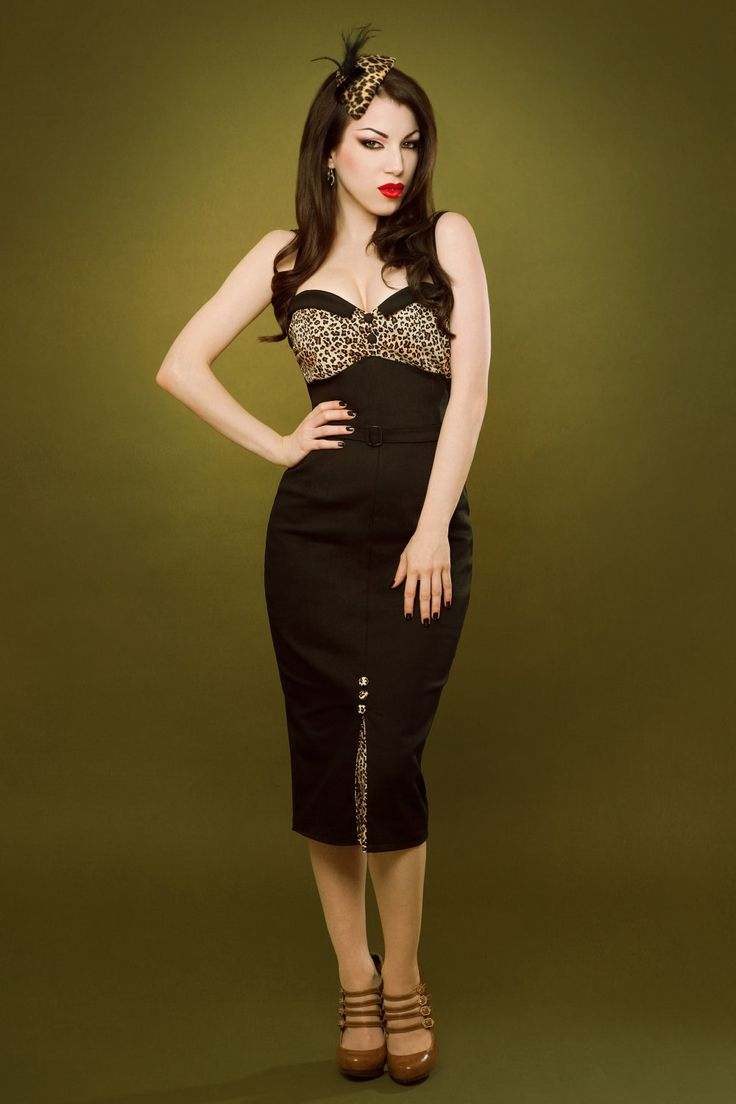 Pin up rockabilly leopard print black dress.