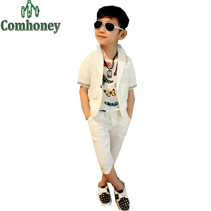 Wedding Suits for Baby Boys White Blazer Jacket+Shorts Pants Set Casual Brand Toddler Tuxedo Birthday Party Kid Clothing Clothes