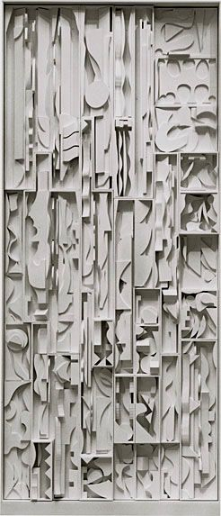Louise Nevelson has larger, bolder, and generally more open-looking cuts nearing the top of the piece, and as you look lower, the cuts of the wood are more narrow and detailed. It demonstrates rhythm and movement because a person's eye would look specifically from top to bottom with this piece.  (Louise Nevelson // White Vertical Water 1972)