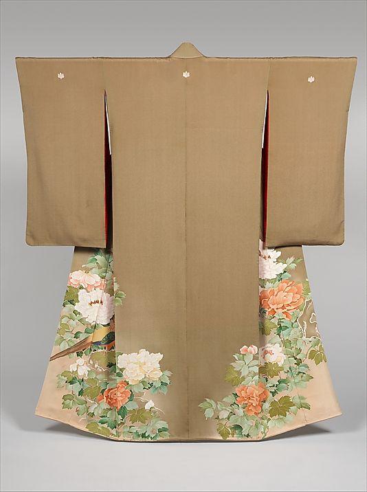 Kimono with pheasants amid peonies, Meiji to Showa period (1868~1989).