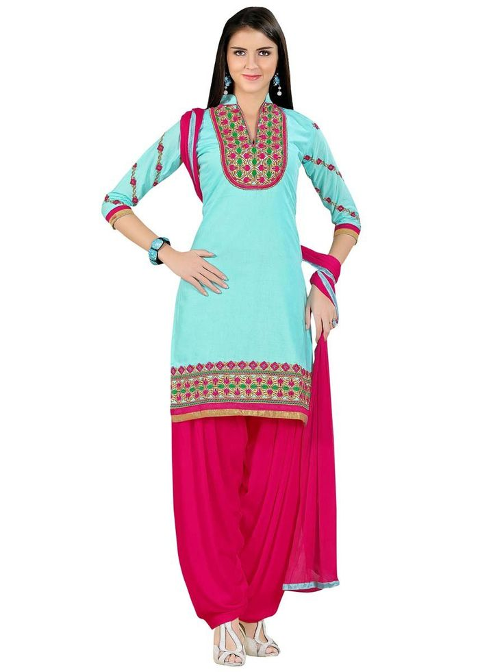 Beautiful aqua color #kurta is fabricated on cotton with resham, zari work. Item code: SLANA10001K http://www.bharatplaza.com/new-arrivals/salwar-kameez.html