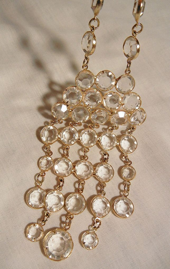 Stunning clear glass crystal cascading waterfall bib Necklace