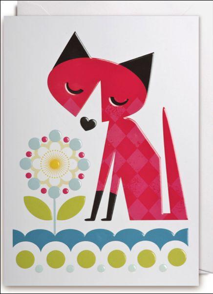 Little fox greeting #card by Kelly Hyatt from www.kidsdinge.com https://www.facebook.com/pages/kidsdingecom-Origineel-speelgoed-hebbedingen-voor-hippe-kids/160122710686387?sk=wall