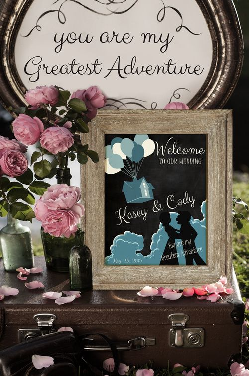 Add that extra special touch to your wedding with a personalized Up themed poster of Carl And Ellie on their wedding day. Personalize with names and date.