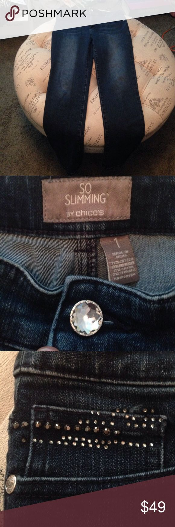 Chico's bling jeans size 1 In great condition So Slimming by Chico's dark denim jeans with bling details. The front pocket may be missing a few stones but cannot be sure so please see photo. This is Chico's size 1. Sku 829 Chico's Jeans