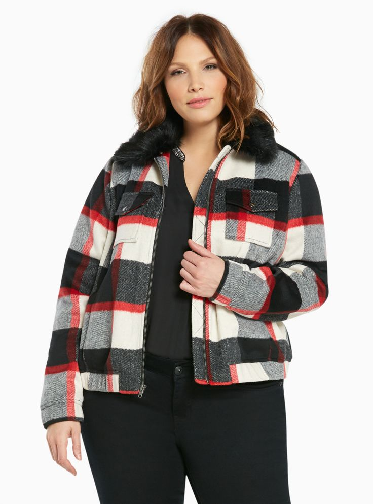 Plaid Wool Bomber Jacket with Faux Fur Collar