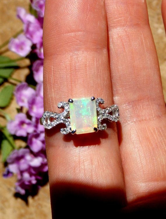 Opal Ring, Opal and Diamond Ring, Opal Engagement Ring, Emerald Cut Opal, 14k Gold, CUSTOM ORDER