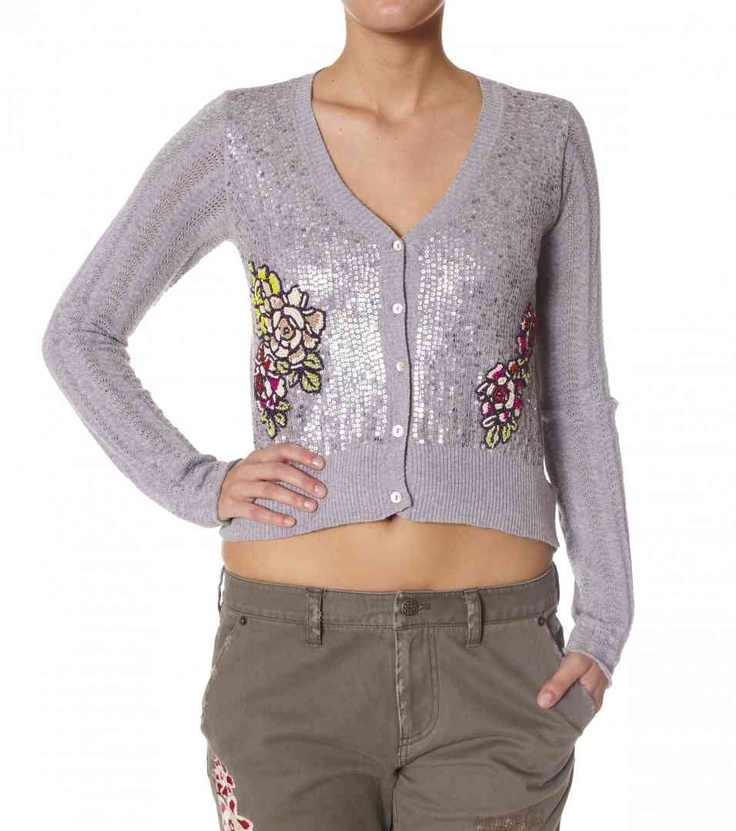 Odd Molly Deli Cardigan - Beautiful sequin detail knit with beaded flower detail. #myhigh