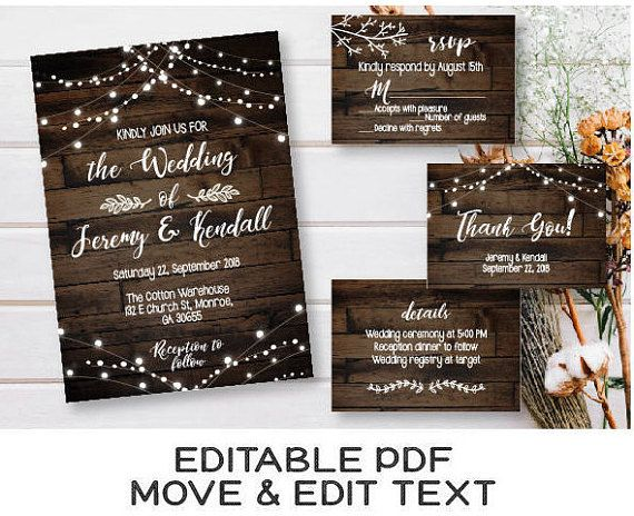RUSTIC DARK WOOD WEDDING INVITATION - Such a lovely wedding invitation set, isnt it? To make sure youll have a perfect party, nows the time to stock up on some rustic wedding decor! This set includes several unique templates for your wedding invitations, RSVP cards, and so much