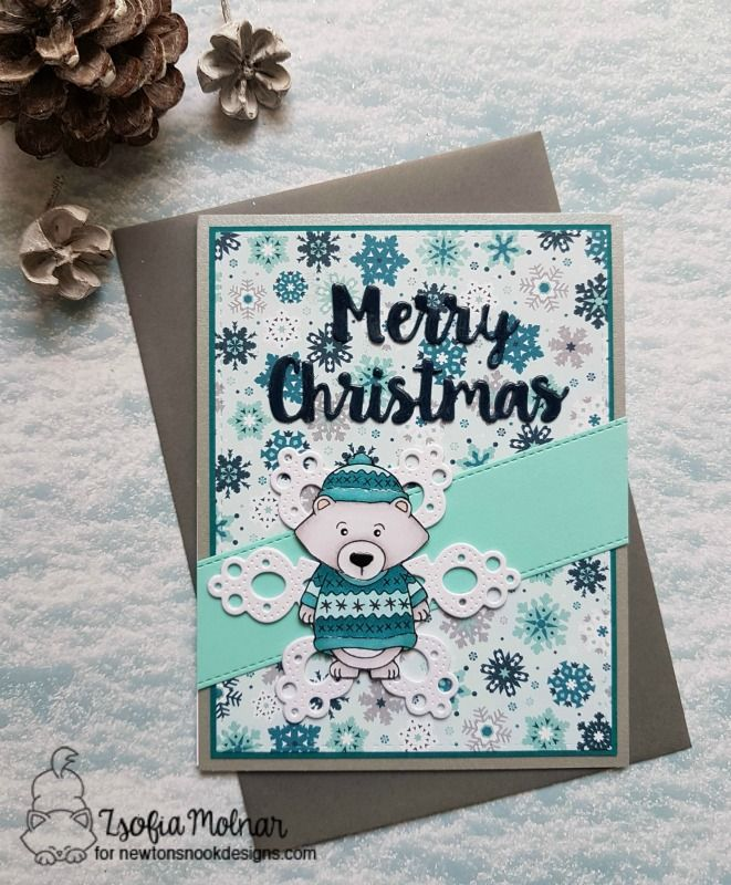 Masculine Christmas card by Zsofi for Newton's Nook Designs | safsafdesign | Inky Paws Challenge #58