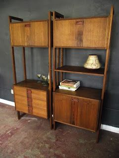 this is a beautiful pair of mid century modern shelving pieces bookcases wonderful in design each drawer unit or cabinet unit can be