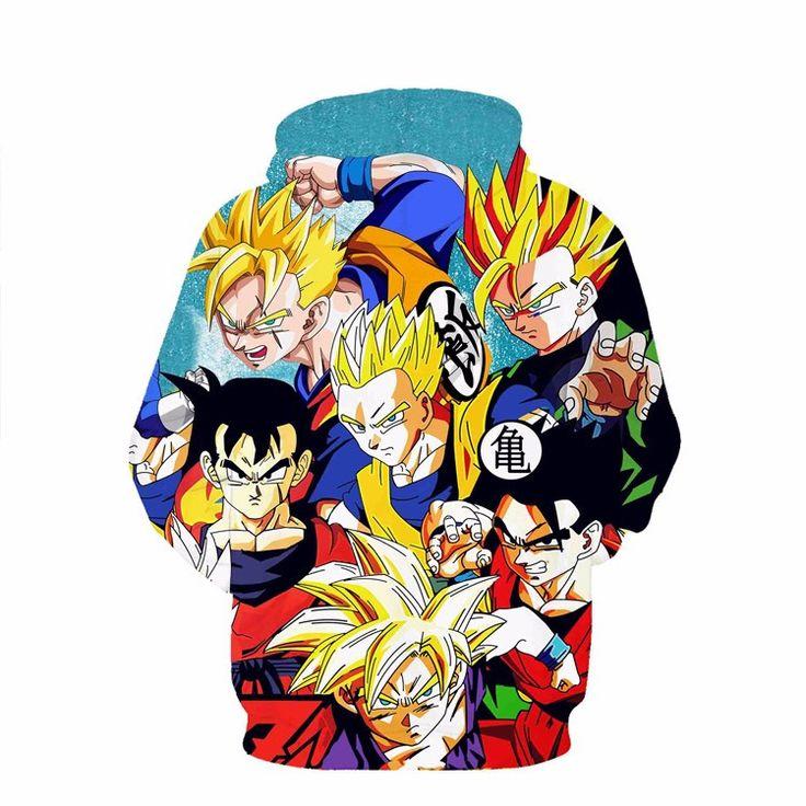 Dragon Ball Z - Many Forms of Gohan SSJ Mystic Super Saiyan - 3D Fashion Style Pullover Hoodie