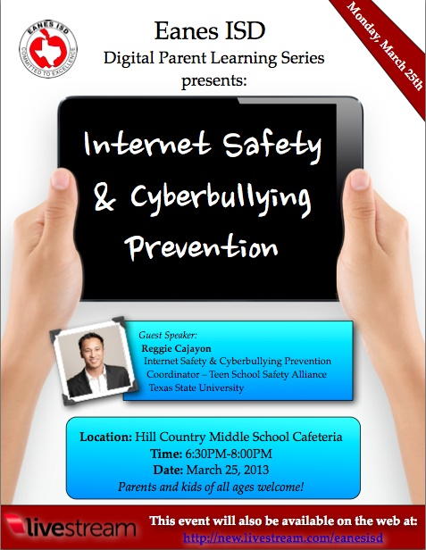 Cyber-bullying and Digital Safety Parent Presentation tonight airs at 6:30pm on Livestream. Will also be archived for later review. Great tips for Digital Wellness will be shared. http://new.livestream.com/EanesISD/events/1965041 (perfect info to support iPads and devices at home and at school)