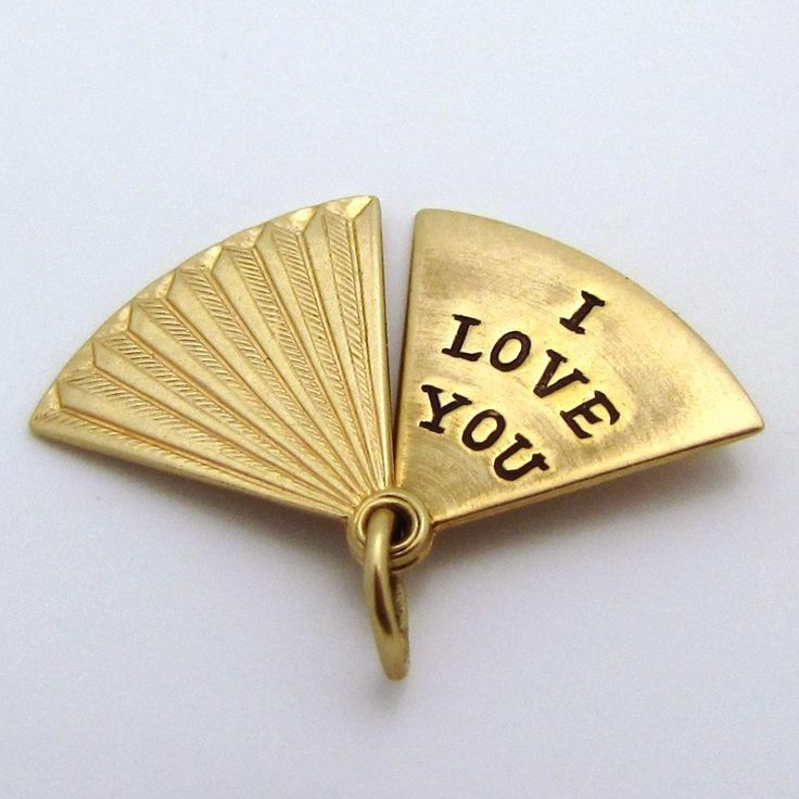 Vintage 10K Gold Movable *I Love You* Hand Fan Charm OPENS! from charmalier on Ruby Lane