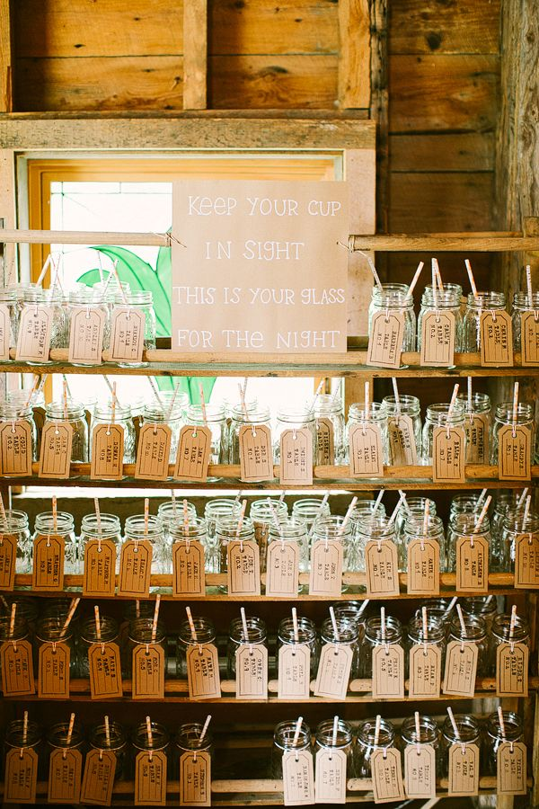 We are doing something like this but making jar into a wineglass with table number and name using chalkboard tags
