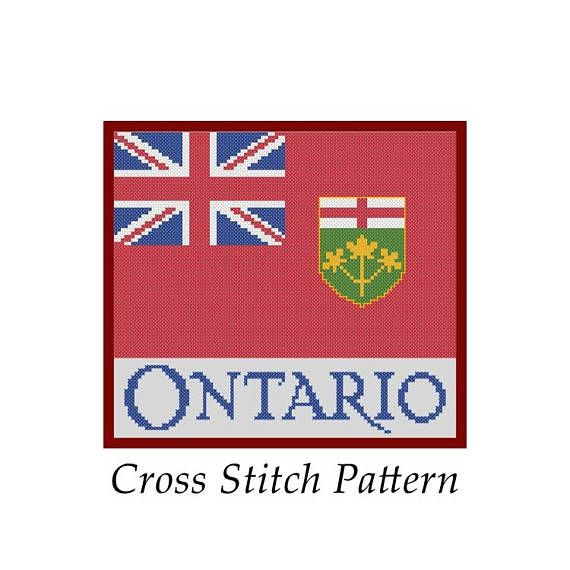#crossstitch #pattern #lakeviewneedlework #ontario #canada Ontario Canada Province Flag Simple Cross Stitch Pattern