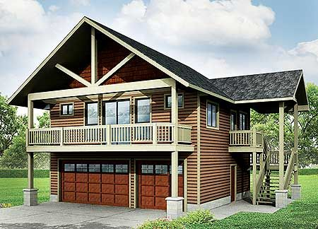 #houseplan 72768DA, a rustic carriage house / garage apartment plan with room for 3 cars below and 1 bed above with great vaulted spaces indoors and out.