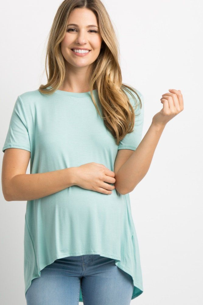 4cd56fe2d8465 Mint Green Pleated Back Short Sleeve Top A solid short sleeve maternity top  featuring a pleated
