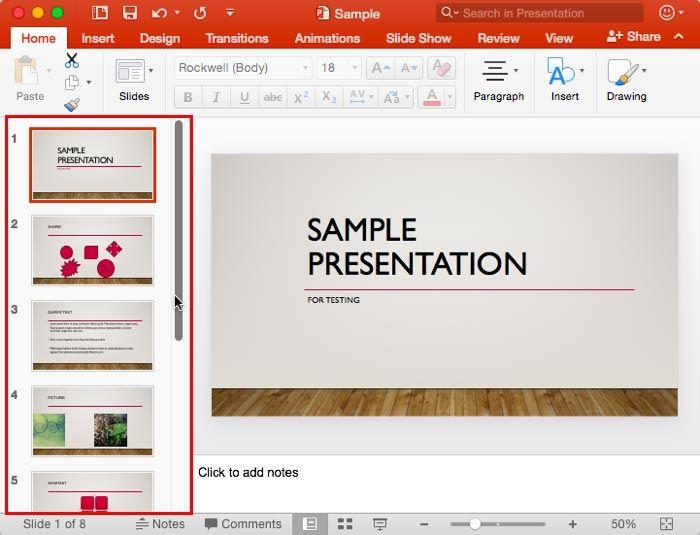 Slides Pane In Powerpoint 2016 For Mac Powerpoint Slides Mac