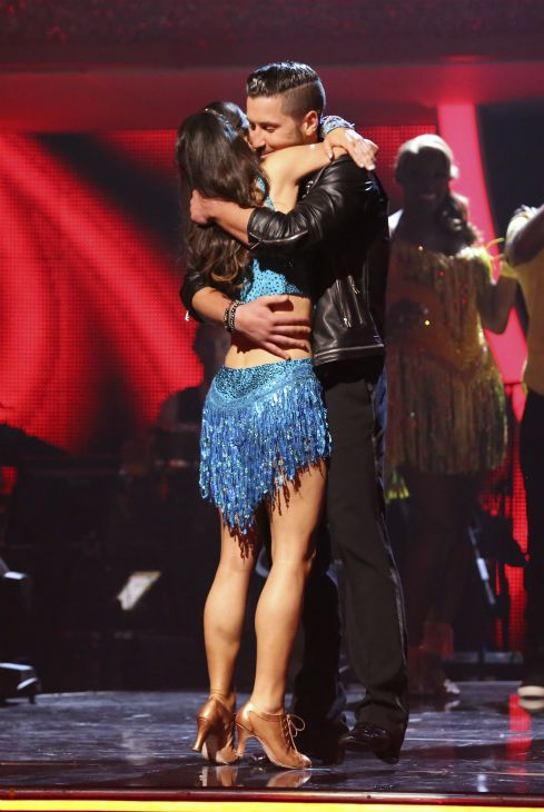 Danica McKellar and Val Chmerkovskiy, Candace Cameron Bure and Mark Ballas and Drew Carey and Cheryl Burke react to being safe on week 6 of ABC's 'Dancing With The Stars' on April 21, 2014.
